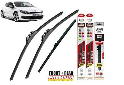 "VW Scirocco 2008-on full set quality windscreen wiper blades 24""19""10"""