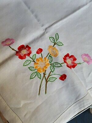 Stunning Antique Vintage Hand Embroidered Linen Tablecloth Floral Multicoloured!