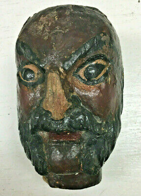 Antique Painted Carved Wood Sculpture Bust