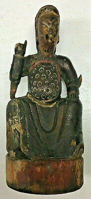 Antique Painted Polychrome Gilt Carved Wood Sculpture Figure - Asian / Chinese