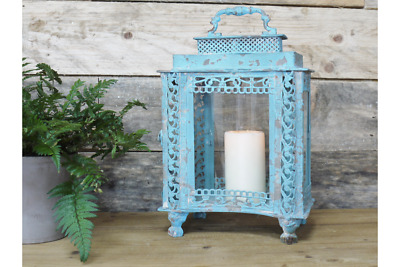 Large Blue Metal Lantern Candle Holder Antique French Vintage Style Shabby Chic