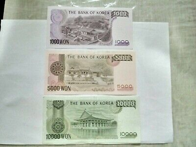 Various Circulated South Korean Bank Notes. Ideal For An Avid Note Collector.