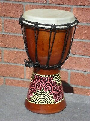 BNWT 15cm Hand Made and Painted Dot Painted Djembe Drum