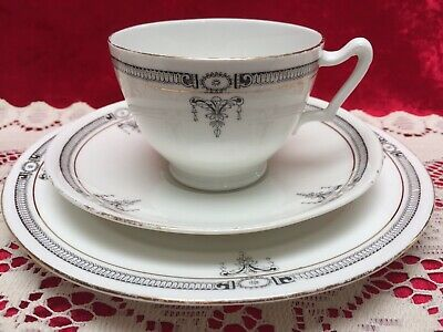 Vintage Paragon Star China, Tea Trio, Black Bands, Scroll & Gold #5002 c.1914