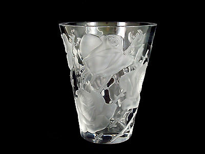 Lalique Crystal Frosted Clear Glass Ispahan Floral Flower Vase