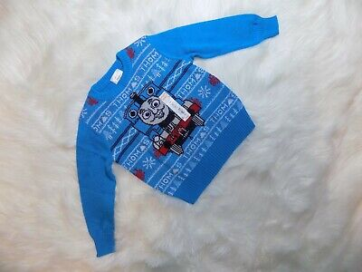 NEW Boys Toddler Jumping Beans Knitted Thomas the tank Engine Sweater Blue 3T