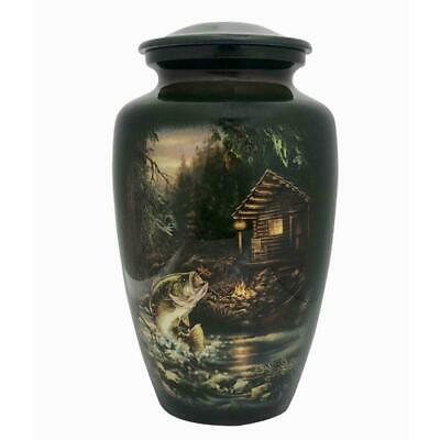 Large/Adult 210 Cubic Inch Metal Fish and Cabin Funeral Cremation Urn for Ashes