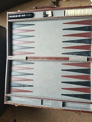Harrods Vintage backgammon set in a leather  briefcase