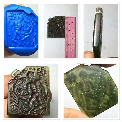 outstanding medieval nefride jade amulet nicely intaglio