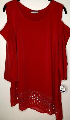 4cbcab5590a JM Collection Cold Shoulder 3/4 Sleeve Tunic Blouse Women's XXL Beaded Red  NWT