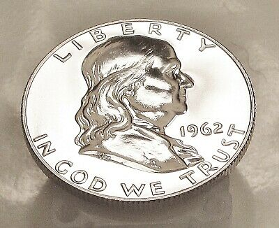 1962  Franklin   Gem   Proof   Blazing  White  Mirrored  Surfaces    #308  16