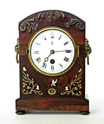 Antique Japy French Mantel Clock Walnut, Carved Thistles, Inlaid Mother-Of-Pearl
