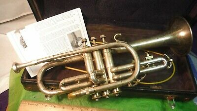 Antique F A Reynolds Cleveland Cornet c1940s w/CASE USAAF Band WWII US On Bell