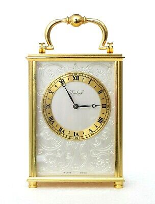 Vintage Swiss Imhof Solid Brass Carriage Clock, 15 Jewels, Engraved, Works Well