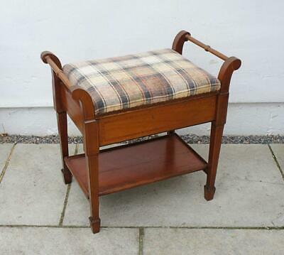 Edwardian inlaid Mahogany  piano stool, lift up storage, re-upholstered