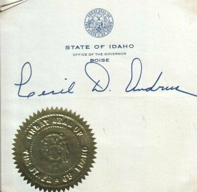 Cecil D. Andrus Autograph Politician / Governor of Idaho from 1971 to 1995