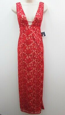 096f60e8c3e Gianni Bini Red Nude Embroidered Mesh Sleeveless Formal Prom Gown Dress  Size 4