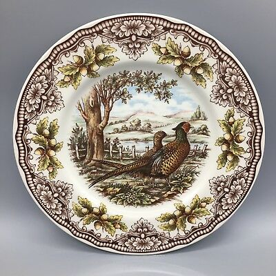 """x2 Pheasant Dinner Plate Set The Victorian English Pottery Thanksgiving 11"""" NEW"""