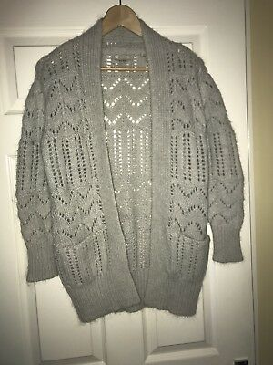 Jack Wills Grey Lambswool Mohair Knitted Long Cardigan Sz 8 - 10 Mint Con