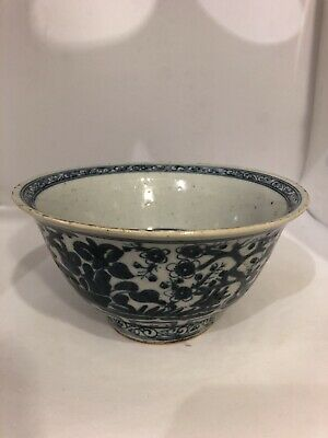 Chinese blue and white porcelain steep sided bowl Glazed Ceramic Early