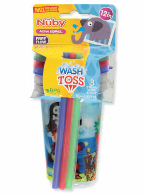 Nuby 3-Pack Wash or Toss Straw Cups (10 Oz.)