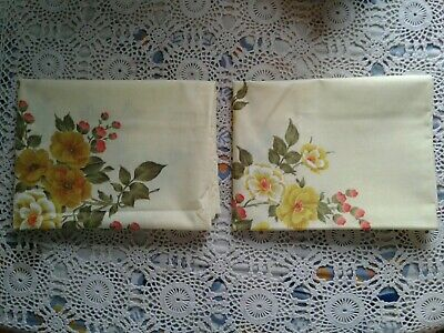 Vintage Dan River Tranquale Yellow Floral Pillowcases No Iron Percale