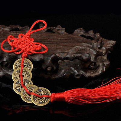 Chinese Feng Shui Protection Fortune Lucky Charm Red Tassel String Tied CoiMAEK