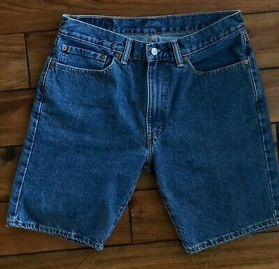b0e3532e5dc LEVIS 505 JEAN Shorts Mens Size 34 Blue Denim 100% Cotton Flat Front ...