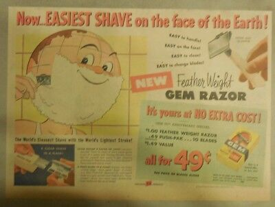 Gem Razor Ad: Easiest Shave on Earth from 1950's Size; 11 x 15 inches