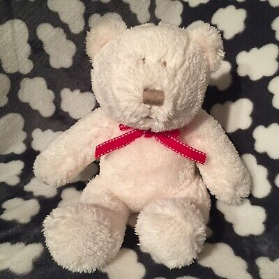 "New Mamas & Papas White Teddy Bear Baby Soft Toy Red Bow 8"" Sitting"