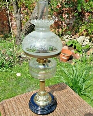 """Stunning Victorian Oil Lamp Glass Font Etched Shade  24"""" High Working"""