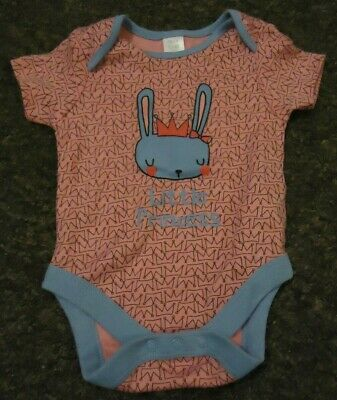 Mini club short sleeve pink front print cute baby vest age 0-3 months