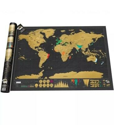Deluxe Scratch Off World Map Poster Journal Log Giant Map Of The World Travel