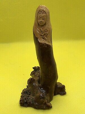 Antique Vintage Hand Carved Wood Asian Woman! Signed!!