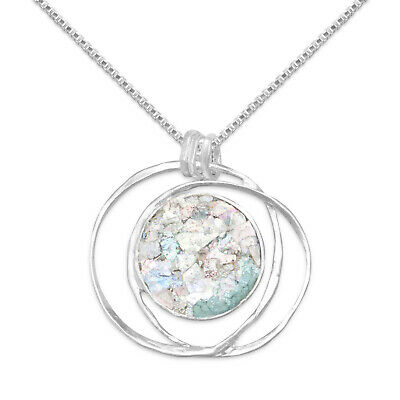 Sterling Silver Round Ancient Roman Glass Open Wire Pendant with 1.5mm Box Chain