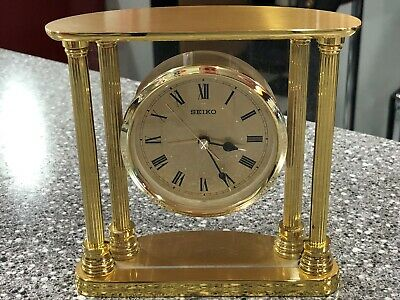 Classic Seiko Brass Floating Dial Desk Alarm Clock QHE101GL