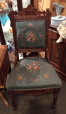 Antique Wood Tapestry Eastlake Chair