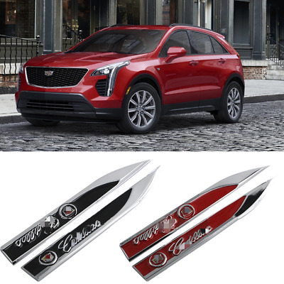 3D Car Decor 2pcs Auto Emblems Blade Badge Body Sticker for Cadillac 2000-2019