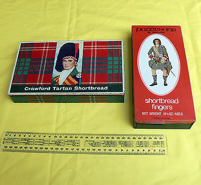 2x Vintage Shortbread Biscuit Tin Crawford Tartan Patersons of Scotland Retro
