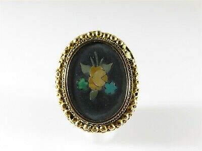 Rare Antique Pietra Dura Ring 18K Top 9K Shank Yellow Gold Ring 7.5