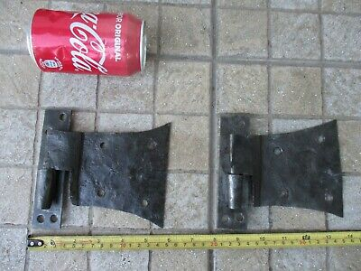 Architectural Salvage Antique Iron Door Pair Huge Rustic Hinges Old Barne Gate