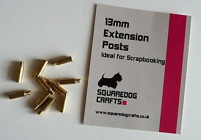 13mm BRASS EXTENSION POSTS 10 PK - IDEAL FOR SCRAPBOOKING