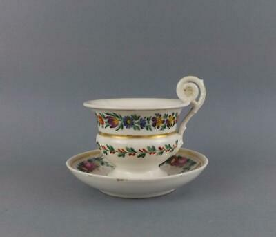Antique Russian Imperial Popov Porcelain Hand Painted Cup & Saucer & Signed.base