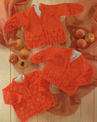CARDIGANS Baby Children 3 Months  to 6 Years Knitting Pattern Copy 8 ply