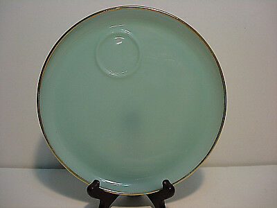 Fire King Turquoise Blue Lunch / Snack Plates with Gold Rim set of three