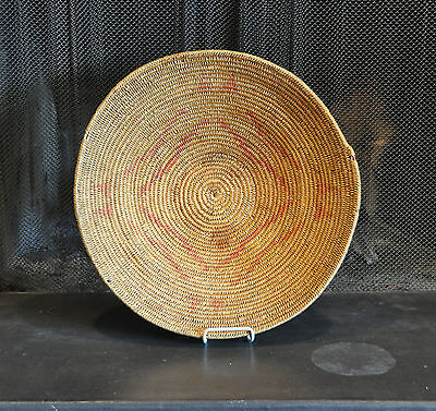 "VERY LARGE JICARILLA APACHE INDIAN BASKET BOWL TRAY - EARLY 1900s -  20"" ACROSS"