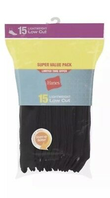 New- 15 Pack Of Womens Hanes Lightweight Low Cut Socks Black Shoe Size 5-9