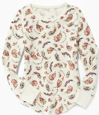Nwt Old Navy Girls Floral Thermal Scoop Neck Shirt Size Xl (14)