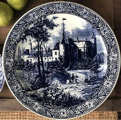 Large Blue & White Platter Charger Wall Plate D39cm