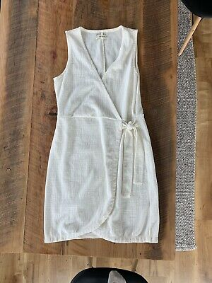 91cac862385 URBAN OUTFITTERS UO Gabrielle Linen Midi Wrap Dress WHITE Sz S ...